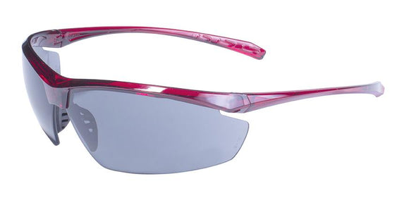 Global Vision Lieutenant CF FM Safety Glasses with Flash Mirror Lenses, Red Frames
