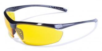 Global Vision Lieutenant Safety Glasses with Yellow Tint Lenses, Gloss Black Frames