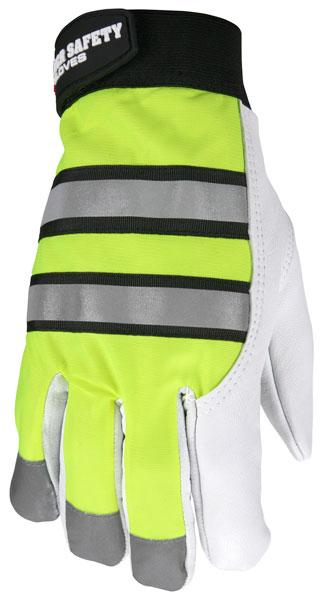 MCR Safety 968 Hi Vis Lined Goatskin Leather Multi-Task Gloves