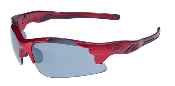 Global Vision Metro FM Safety Sunglasses with Flash Mirror Lenses, Matte Metallic Red Frames