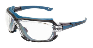 Global Vision Octane A/F Anti-Fog Safety Glasses with Clear Lenses, Blue Frames
