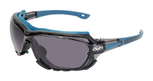 Global Vision Octane A/F Anti-Fog Safety Glasses with Smoke Lenses, Blue Frames
