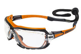 Global Vision Octane A/F Anti-Fog Safety Glasses with Clear Lenses, Orange Frames