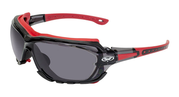 Global Vision Octane A/F Anti-Fog Safety Glasses with Smoke Lenses, Red Frames