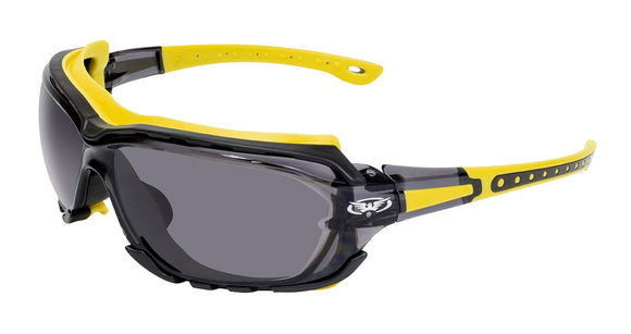 Global Vision Octane A/F Anti-Fog Safety Glasses with Smoke Lenses, Yellow Frames