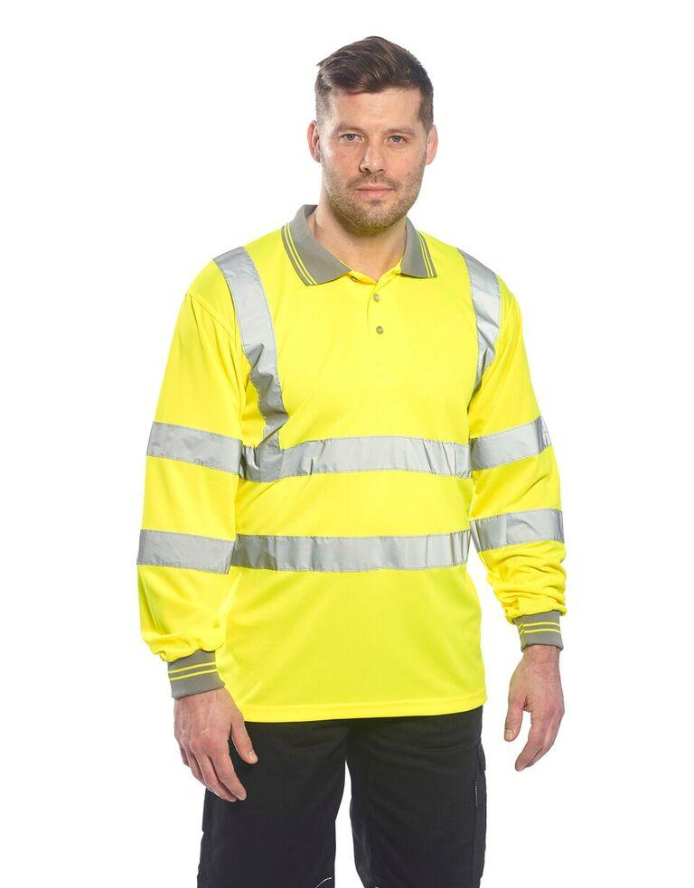 Portwest Hi-Vis Long Sleeved Polo Yellow S277