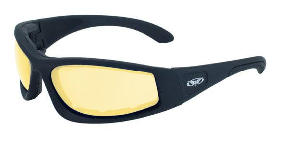 Global Vision Triumphant 24 Safety Glasses with Yellow Photochromic Lenses, Matte Black Frames