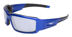 Global Vision Velocity Metallic Safety Glasses with Clear Lenses, Blue Frames