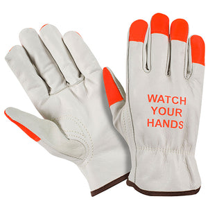 Southern Glove LDKWYH Hi Vis Watch Your Hands Grain Leather Cowhide Driver Glove