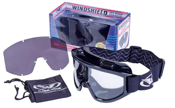 Global Vision Wind-Shield A/F Kit Anti-Fog Goggles with Interchangeable Clear and Smoke Lenses