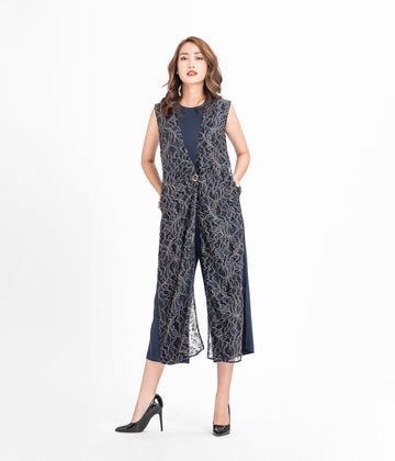 Button Shift Lace Jumpsuit