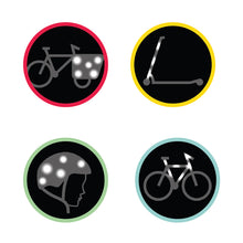 Load image into Gallery viewer, Rainbow Reflective stickers on bike scooter helmet kids gift