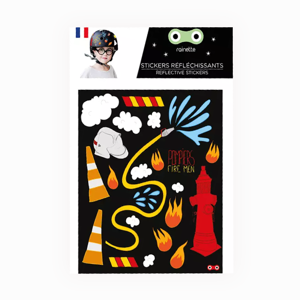Reflective stickers  Fireman on bike scooter helmet kids gift
