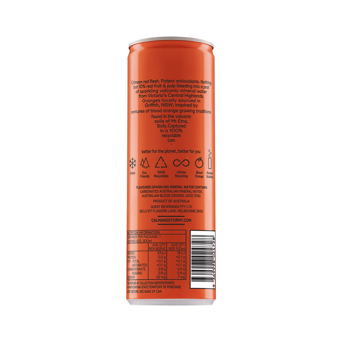 Calm and Stormy Blood Orange Sparkling Back of Can