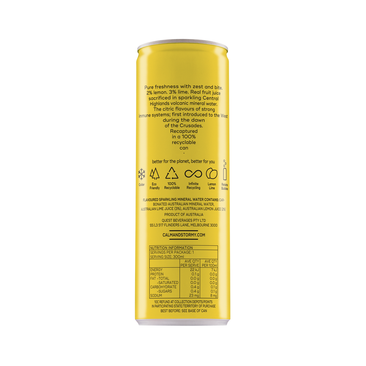 300ml Sparkling Water- Lemon Lime (12 cans)