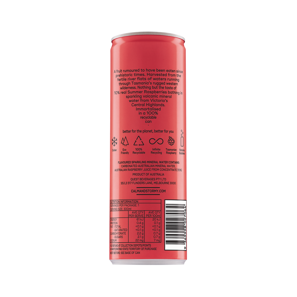 300ml Sparkling Water- Tasmanian Raspberry (12 cans)