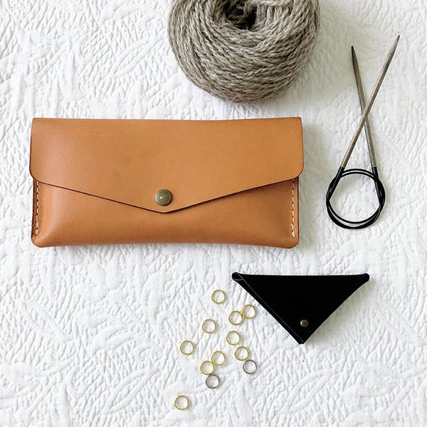 Leather stitch marker pouch