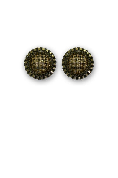 Retro Brown Casual Button Earrings