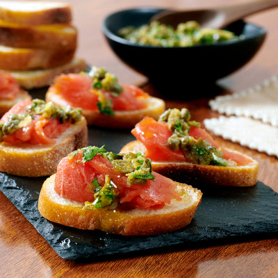 Smoked Salmon Crostini with Capers & Parsley