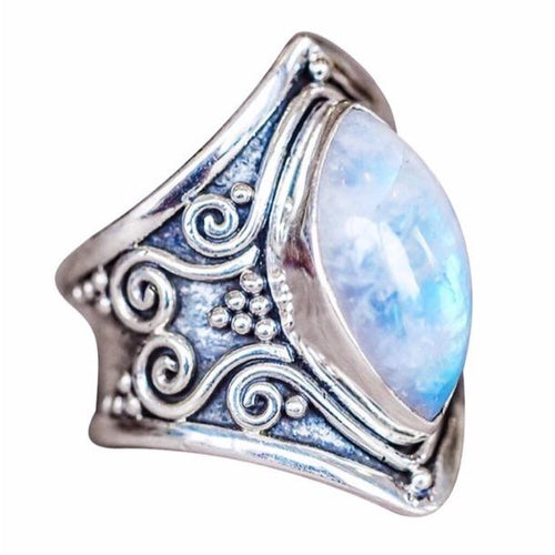 Midnight Magic Moonstone Ring Marquise Silver Boho Statement Ring