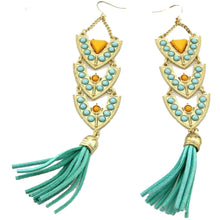 Amazon Dangles Leather-Tasseled Drop Earrings
