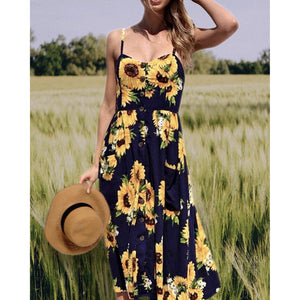 Sunflower Sweetheart Button Down Midi Dress