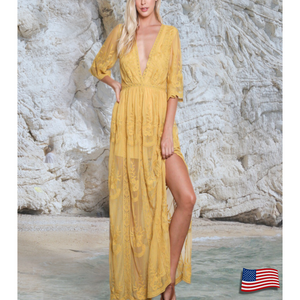 Dominica Dress - Plunging Lace Maxi USA Made