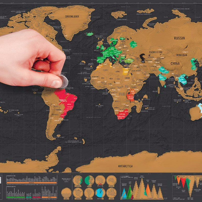 Deluxe Edition Matte Black Scratch-Off Colorful World Travel Map