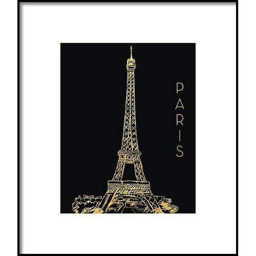 Paris On Black Framed Print by Nicholas Biscardi
