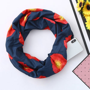 The Poppy Infinity Travel Scarf - Hidden Zipper Pocket Passport Pouch Convertible Scarf