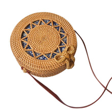 "Bali Beach Bag - Handwoven Round Rattan Straw ""Roundie"" Circle Handbag"
