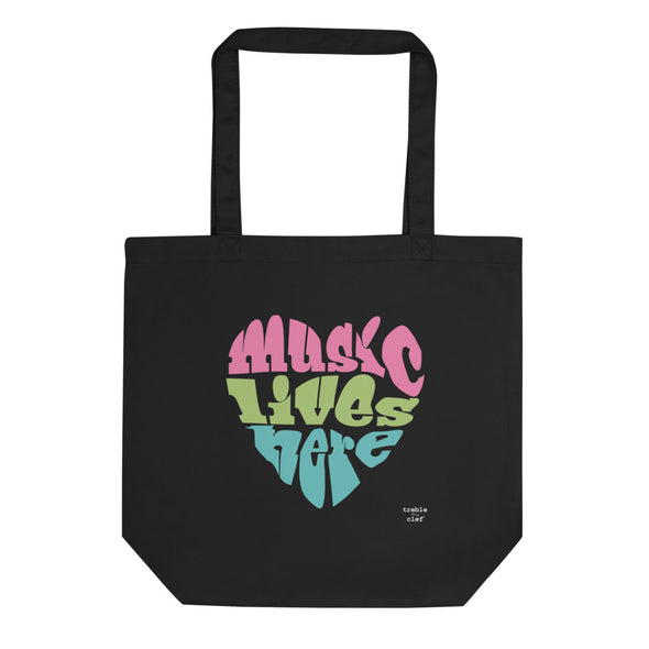 Music Lives Here Organic Tote Bag