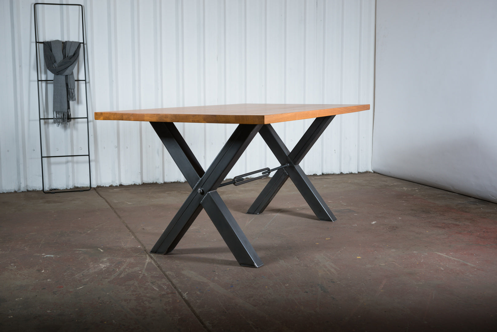 X shape industrial oak dining table with steel base