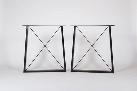 ZENO. Trapezium Shape with X brace - Table Legs (Pair)