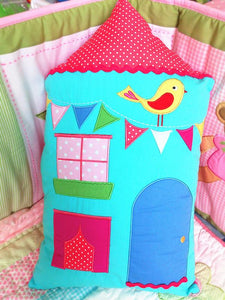 Snuggle Blue House Cushion