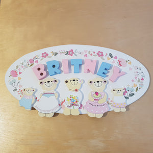 C&F Wooden Mama Bear Character - Flower Bouquet