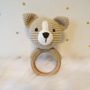 May's Hand Dog Dory Round Rattle Crochet