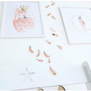 FIJN Pink Feathers Wall Decal (16 pcs)