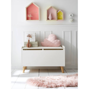 FIJN White and Wood Storage Bench