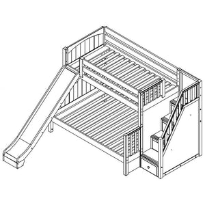 Maxtrix Medium Twin over Full Bunk w Staircase w Slide (Est. 2mths)