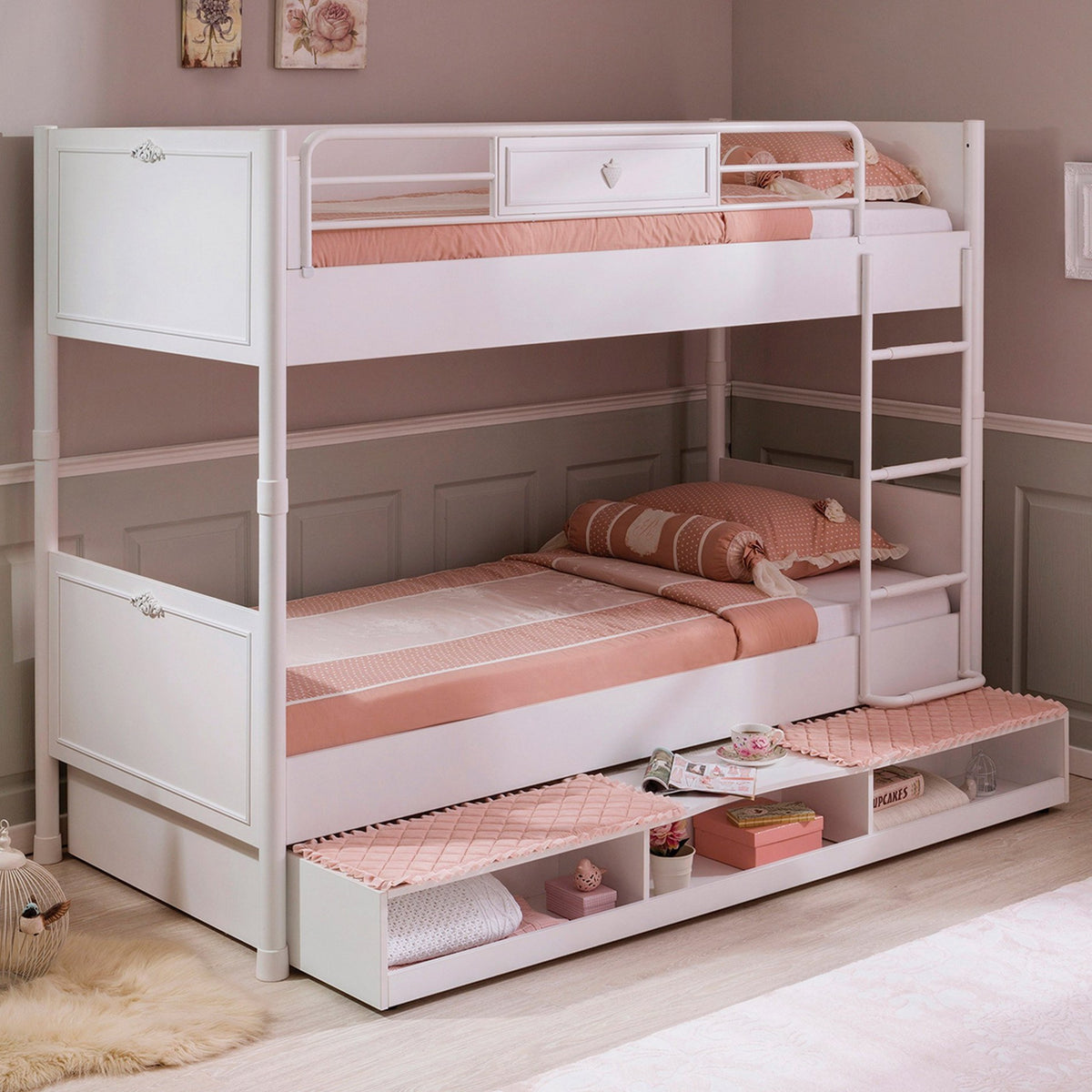 Cilek Romantica Bunk Bed 90x200 Cm With Pull Out Options
