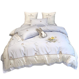 SNUGGLE Blue & Grey Rabbit Bedsheet Set (Queen / King)