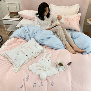 SNUGGLE Musical Rabbit Bedsheet Set (Single / SS / Queen / King) - Pink or Yellow