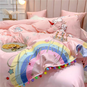 SNUGGLE Pink Unicorn Rainbow Bedsheet Set (Single / SS / Queen / King)