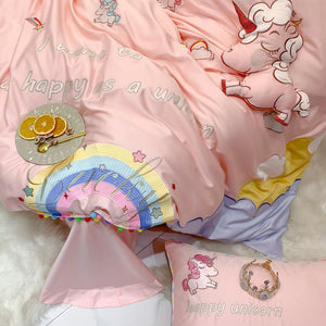 SNUGGLE Pink Unicorn Rainbow Bedsheet Set (Single / SS)