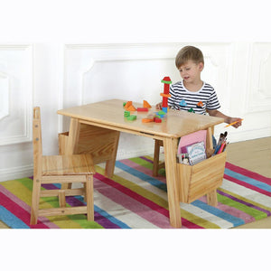 Joey's Solid Pine Wood Table Set with Side Holders