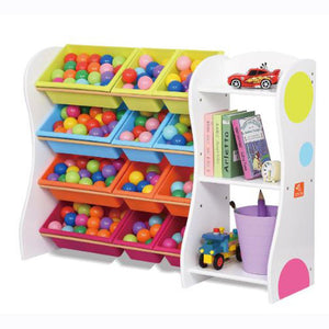 Joey's Solid Wood 12 Bins Toy Organiser with Shelves (White)