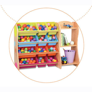 Joey's Solid Wood 12 Bins Toy Organiser with Shelves (Pine)