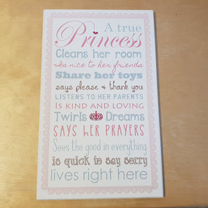 C&F Wooden A True Princess Quote Plaque