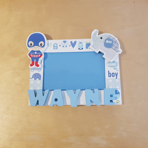C&F Wooden Baby Boy Photo Frame Name Plate